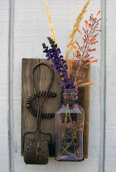 Rustic Reclaimed Wood Vase Hanging with Vintage by RusticSpoonful, $17.00