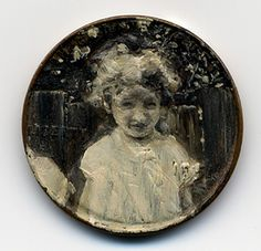 Kisses and Ghosts, 1951  oil on penny    Paintings on copper penny by Jacqueline Lou Skaggs