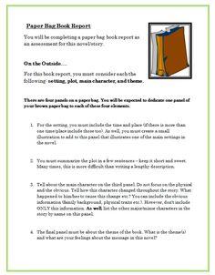paper bag book report rubric elementary
