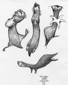 Great otter caricatures from Carter Goodrich