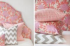 pink, orange and gray