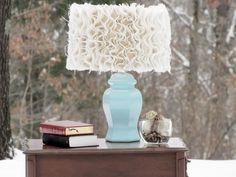 Make this adorable ruffle lampshade tutorial.  AND 45 BEST FRENCH Spring Party, Crafts & Decor Tutorials EVER with their LINKS!!! GIFT, PARTY, EVENT, SPRING, WEDDING DECOR. Blog & Photos from MrsPollyRogers.com