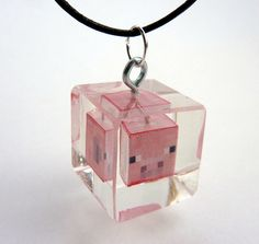 Minecraft Pig resin cube necklace  Awesome Stealthy by mindblocks, $15.00