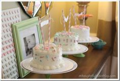 what a great idea for a girl's birthday party - a bake shoppe birthday party; guests decorate their own cakes!
