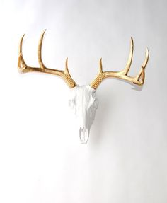 White Faux Taxidermy - The Deer Skull in White w/Gold Antlers - White Resin Deer Skull Head- White Faux Taxidermy- Western Decor Stag
