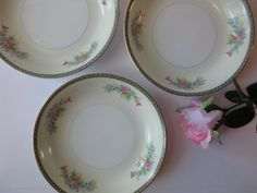 Vintage Pink Blue Floral Japan Soup Bowls Set of by thechinagirl