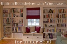red oak road: Built in Bookshelves with Window-seat for under $350