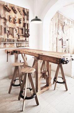 = vintage workshop table