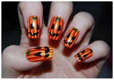 Simple pumpkin nail art ♥