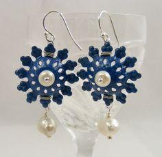 Blue Enamel Flower Earrings by Sweet Freedom Designs