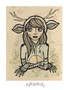 Deer Suit Original Mini Ink & Watercolor Drawing on Etsy by Ash Lethal $19.00