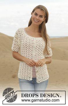 "Crochet DROPS jacket with lace pattern and double treble crochet in ""Cotton Merino"". Size: S - XXXL. ~ DROPS Design"