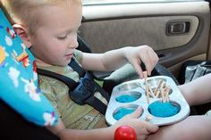 This blog has some good road trip activities.  I especially like this one- hammering golf tee's into play-doh in a muffin tin!