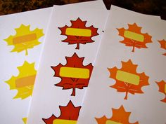 Autumn Leaf printables, free pdf file to download. Ideas for using them with preschoolers:  alphabet or number hide and seek game, upper and lower case match up, learning names, and more.  From Creekside Learning.