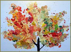finger paint fall tree  from The Tree in Season by Robert Fisher (poem for each season)***  Autumn The tree shivers in the shortening day its leaves turn gold the clouds pass the seeds fall the tree drops its coins of gold and the days are rich with the spending of leaves