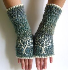 Arm Warmers with Tree Design  Shades of Blue  by LoveFuzz on Etsy, $40.00
