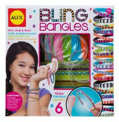 Making sparkling bangles is as easy as 1-2-3. Just add the sticky gem strip to the metal bangle and wrap with colored floss. Everything is included to make 6 bling bangle bracelets!
