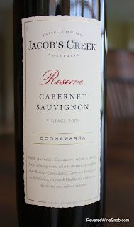 Jacob's Creek Reserve Coonawarra Cabernet Sauvignon 2009 - A Solid Cab Without The High Price Tag. $7, http://www.reversewinesnob.com/2012/10/jacobs-creek-reserve-coonawarra-cabernet-sauvignon.html
