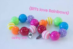 BFFs Love Rainbows Chunky Bead Bracelet - Baby Girl Bracelet -Chunky Necklace - Chunky Bead Necklace - Childrens Bracelet - BFF Bracelet bff bracelet, bead necklaces