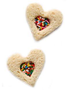 Miniature Fairy Bread Tea Sandwiches #valentinesday