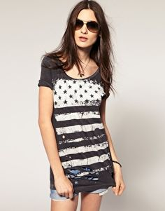 Stars And Stripe Flag Distressed Tee