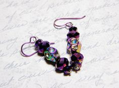 READY TO SHIP Titanium Hematite Skull Earrings by WhimsyBeading, $20.00