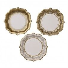 Attractive paper plates like these mix in well with a couple's existing pattern or can stand alone beautifully on the table.  Extra bonus: no clean up required when the celebration is over.
