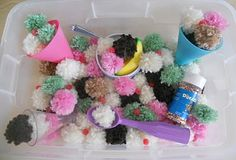 Ice Cream Shop Fun using homemade Poms, silicone cones, red beads, plastic sundae bowls, ice cream scoop and sprinkles (tip: seal the sprinkle container shut to prevent sticky hands & unwanted visitors aka Ants!)