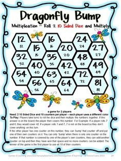 Dragonfly Bump - roll 2 10 sided dice and multiply! Multiplication Games 27 Multiplication Bump Games by Games 4 Learning  This collection of printable Multiplication games contains 27 Multiplication Bump Games that reviews multiplication skills up to 12 x 12. $