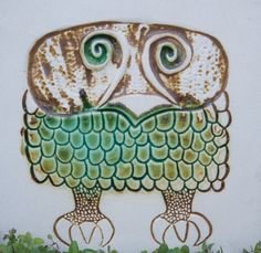 vintage owl tile from Bennington Potters Vermont