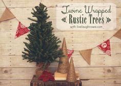 Twine Wrapped Christmas Trees with livelaughrowe.com #christmas #crafts #twine