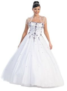 Ball Gown Strapless Formal Prom Wedding Dress #742 (14, White/Purple) $164.99