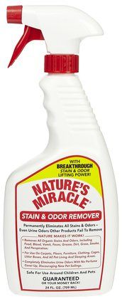 Nature's Miracle Stain & Odor Remover - perfect for carpets, upholstery, furniture, flooring, clothing, cages and anywhere your pet may leave a stain. Works on old and deep stains too.