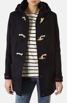 cute hooded toggle duffle coat with Breton tee