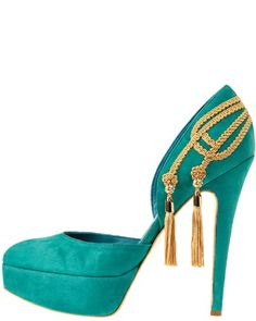 DARMAKI Ottoman - Dahab seagreen suede platform with gold embroidery and crystal tassels #shoes #turquoise