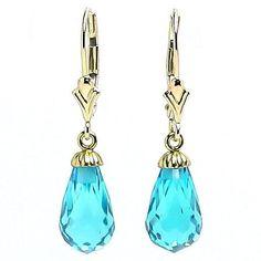 Stunning 7.0ct Blue Topaz Briolette Teardrop Leverback Earrings, Solid 14K Gold, $126.00