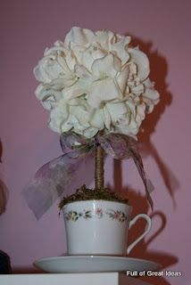 Full of Great Ideas: Tea Cup Topiary on a $0 budget