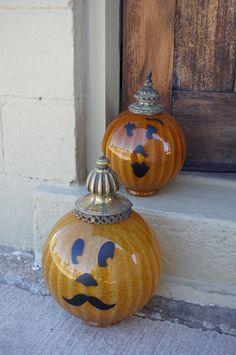 jack o'lanterns made from light fixtures