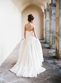 Wedding dress with a full skirt.