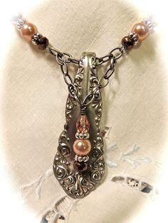Artisan Jewelry Vintage Silverware Pendant Necklace by SimplySheryls, $33.00