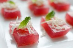 coconut raspberry mojito jell-o shooters. By FFFFOOD