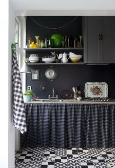 Shelf Curtains/Gray Kitchen