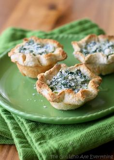 Spinach Artichoke Cups - an easy appetizer from The Girl Who Ate Everything #recipe