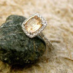 Custom Made 1.65 ct Cushion Cut Champagne Peach Sapphire Engagement Ring with Diamonds in 18K White Gold Size 6.5. $2,890.00, via Etsy. diamond cuts, pastel peach, design diamond ring, cushion cut