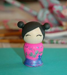 Paitn kokeshi dolls. from restlessrisa Japanese Theme Birthday Party