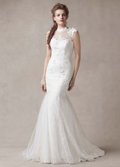 Chantilly Lace Gown with Tulle High Neck Detail - Wedding Dresses by Melissa Sweet - Loverly
