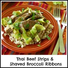 "Beef Strips and Shaved Broccoli Stalk ""Ribbons"" in a Thai-inspired glaze. Don't throw away the stalks, they are delicious! #glutenfree #lowcarb"
