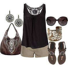 summer black, created by lagu on Polyvore