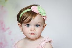 Baby headband light green and pink chiffon, shabby chic,  newborn girl hair bow