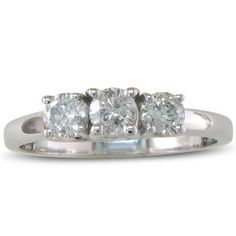 #8: 1/2ct Three Diamond Engagement Ring in Sterling Silver, Available Ring Sizes 4 - 9